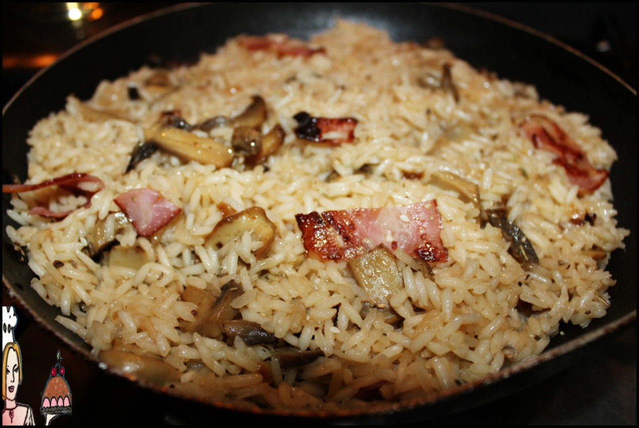 Arroz marron com cogumelos e bacon estaladiço  ♥♥♥